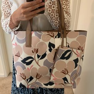 KATE SPADE MYA BREEZY FLORAL TOTE BAG REVERSIBLE